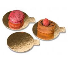 Подложка для десерта с держателем золото/жемчуг d=8см