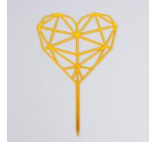 Топпер «Сердце», геометрия, цвет золотой